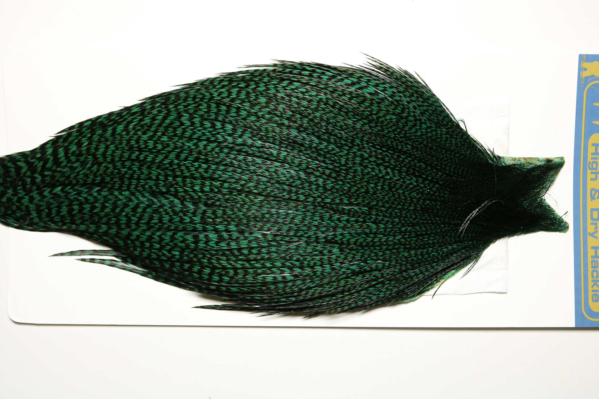 HDC-4587 High & Day Cape Grizzly dyed Peacock Herl